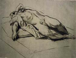 Study of a Nude Man by John Singer Sargent Recline Stairway 8x10 Print 2224
